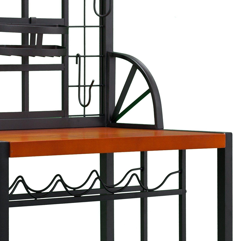 Bakers Rack Kitchen Dining Area Metal Art Deco Style Organization Accommodates Baker 39 S Racks