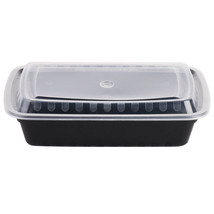 "24 oz. Black 8"" x 5 1/4"" x 1 1/2"" Microwavable Container with Lid 150/Case - $43.34"