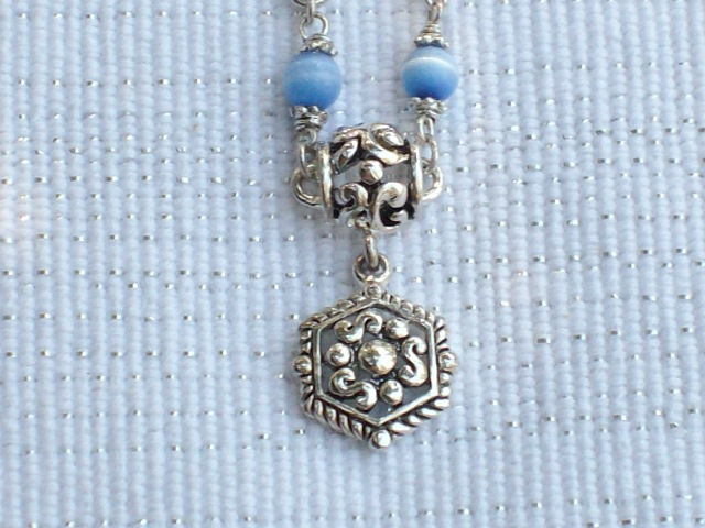 Cookie Lee Blue Cat's Eye & Antiqued Silver Necklace - Item #48007 - New!