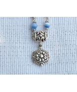 Cookie Lee Blue Cat's Eye & Antiqued Silver Necklace - Item #48007 - New! - $8.00