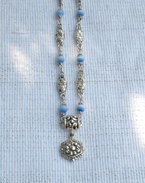Cookie Lee Blue Cat's Eye & Antiqued Silver Necklace - Item #48007 - New! image 2