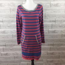 TOMMY GIRL HILFIGER Shirt Dress XL Pink Blue Striped Long Sleeve Vintage... - $19.28