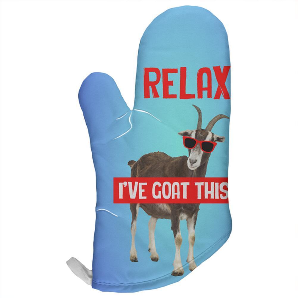 Relax I've Got Goat This Funny All Over Oven Mitt