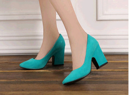 pp420 elegant chunky pumps, square heels, nubuck leather , Size 4-8.5, blue - $42.80