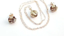 Triple Knot Necklace Matching Earrings Solid 9k Yellow Gold 1.4g #5 - $70.75