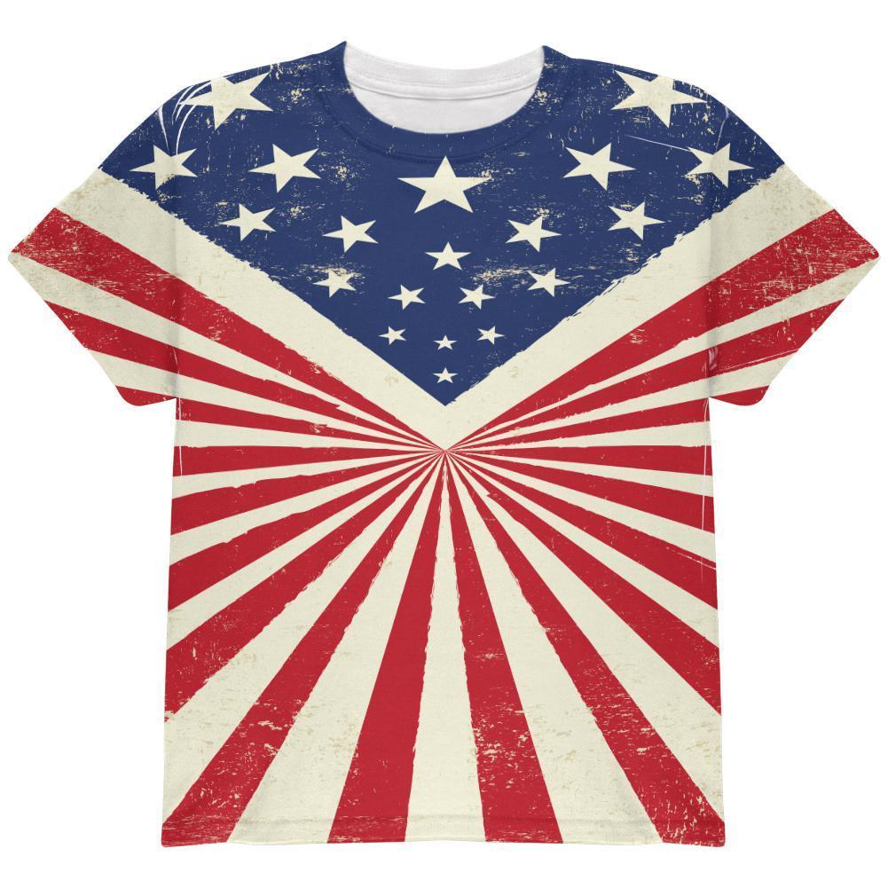 American Flag Sunburst All Over Youth T Shirt
