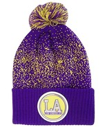 Los Angeles LA Patch Cuff Knit Pom Beanie Winter Hat (Purple/Gold) - $12.75