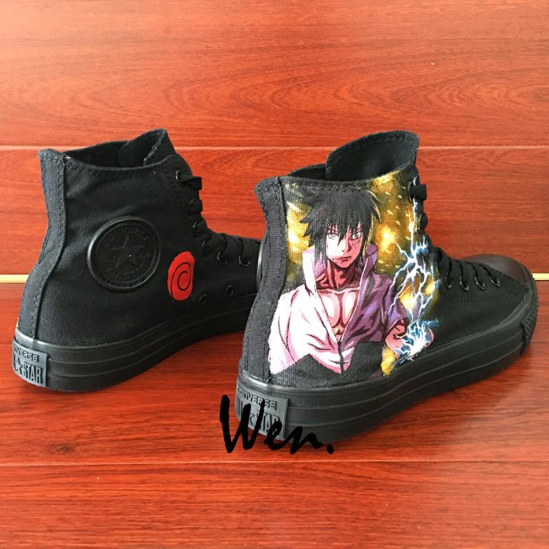 Uzumaki Naruto Anime Shoes Sasuke Converse All Star Hand Painted Sneakers Wen