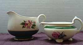 Two Vintage HOMER LAUGHLIN Pitchers NAUTILUS CAVALIER Eggshell Green Roses - $14.00
