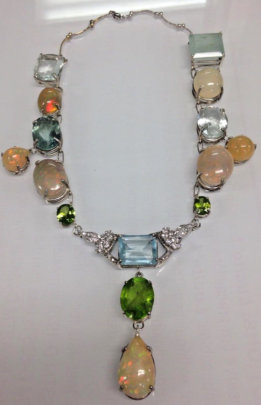 New Jumbo 135 ct Ethiopian Opal, Aquamarine, Diamond 14k gold Platinum Necklace