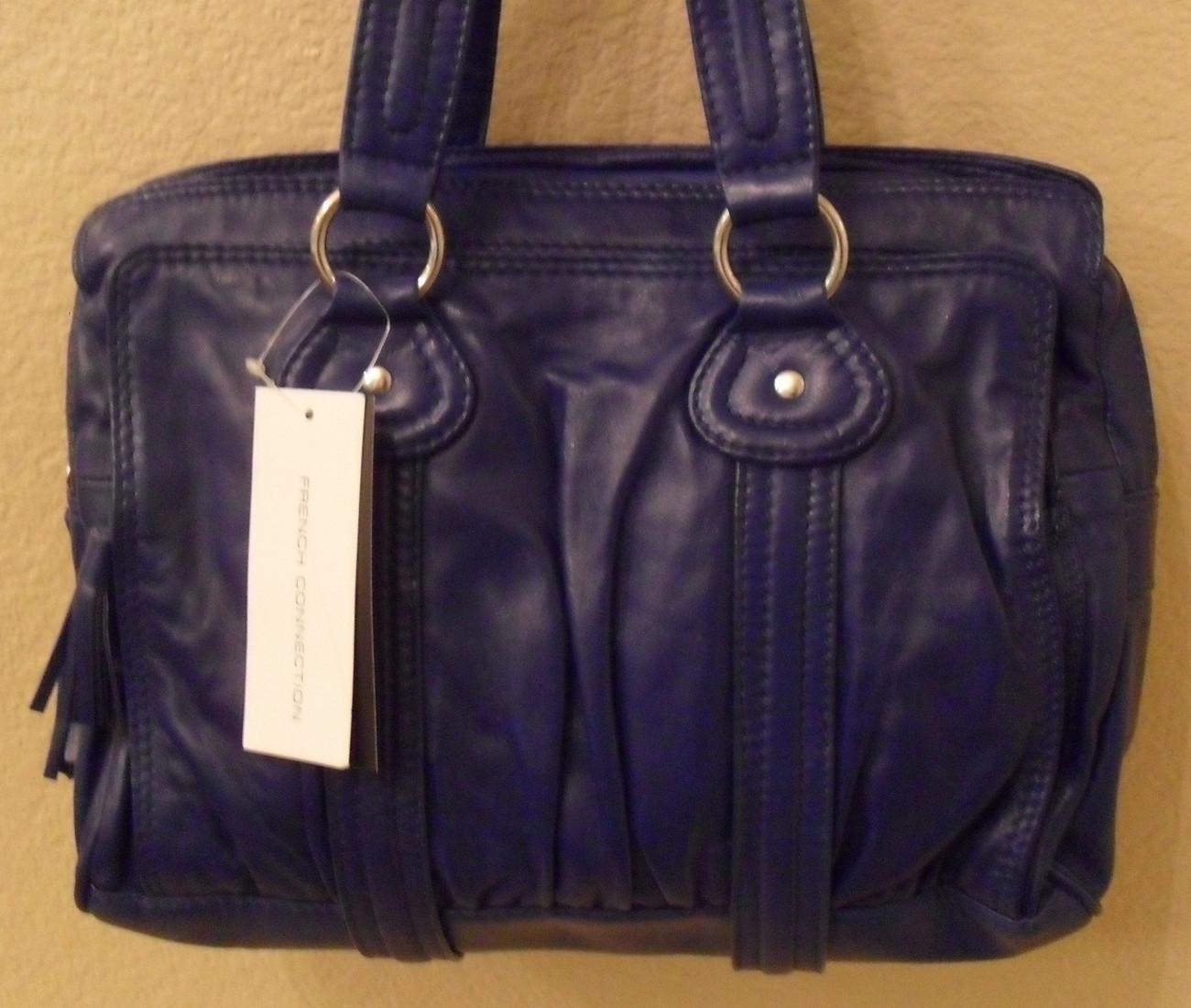 NWT FRENCH CONNECTION Acid Drop Blue Leather Satchel Handbag (MAKE AN OFFER)