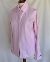 PINK TARTAN Blouse 6 Cotton Button Down French Cuff Long Sleeve List 185 - $18.00