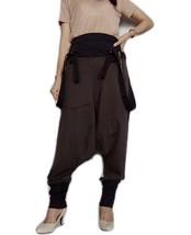 SALE Drop Crotch Harem Pants Suspender Jumpsuit Gray/Black Cotton Blend ... - $55.00