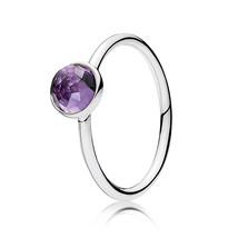 925 Sterling Silver February Droplet & Purple Zirconia Birthstone Ring QJCB1005 - $19.99