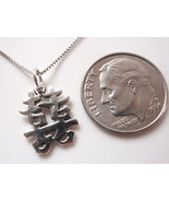 Small Chinese Character for Happiness Pendant 925 Sterling Silver Corona... - $19.79