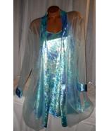 Aqua Blue Shiny Velvet Chemise Nightgown Robe ... - $25.50