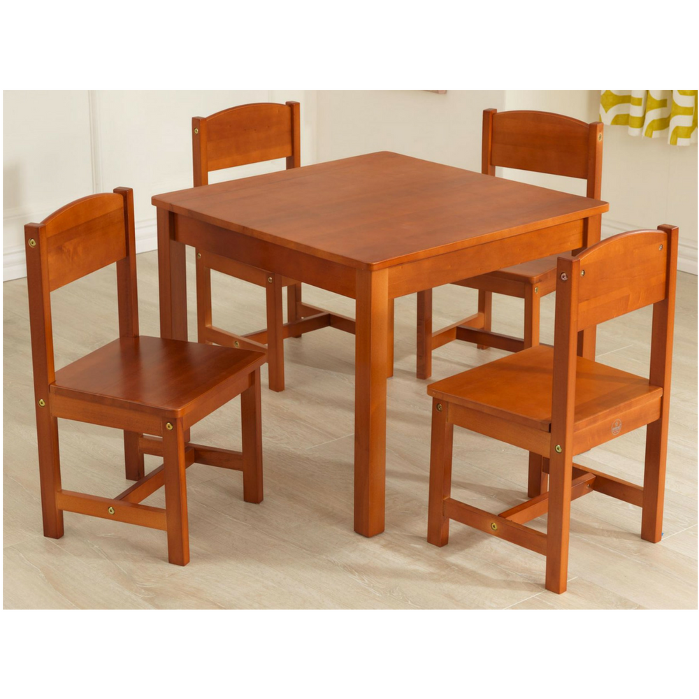 Kids Table And 4 Chairs Activity Set Wooden Furniture Pecan Finish Play Tables Chairs