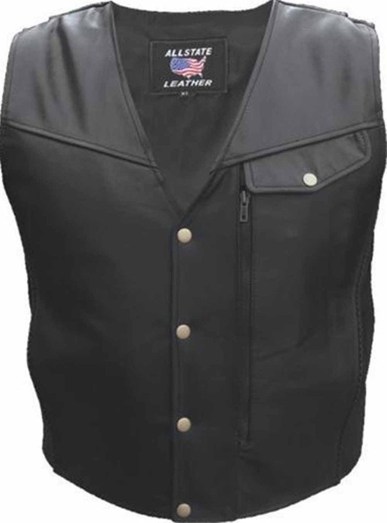 Allstate Leather Men's Black Naked Leather Motorcycle Vest with Braid Trim 56...