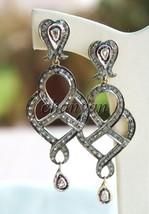 Vintage/Antique Look Art  Rose Cut Diamond 925 Silver Polki Earring @CSJ... - $5.515,81 MXN