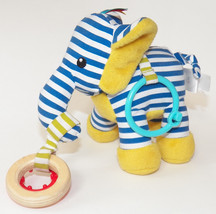 Manhattan Toy Blue Striped Plush Elephant Teether Rattle Baby Toddler Ye... - $12.55