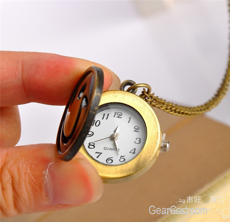 Fashion Antique Retro Bronze Quartz Pocket Pendant Chain Necklace Watch