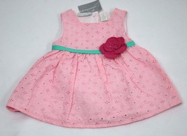 First Impressions Baby Girls 2 Piece Floral Lace Eyelet Dress Pink 0-3 M... - $25.99