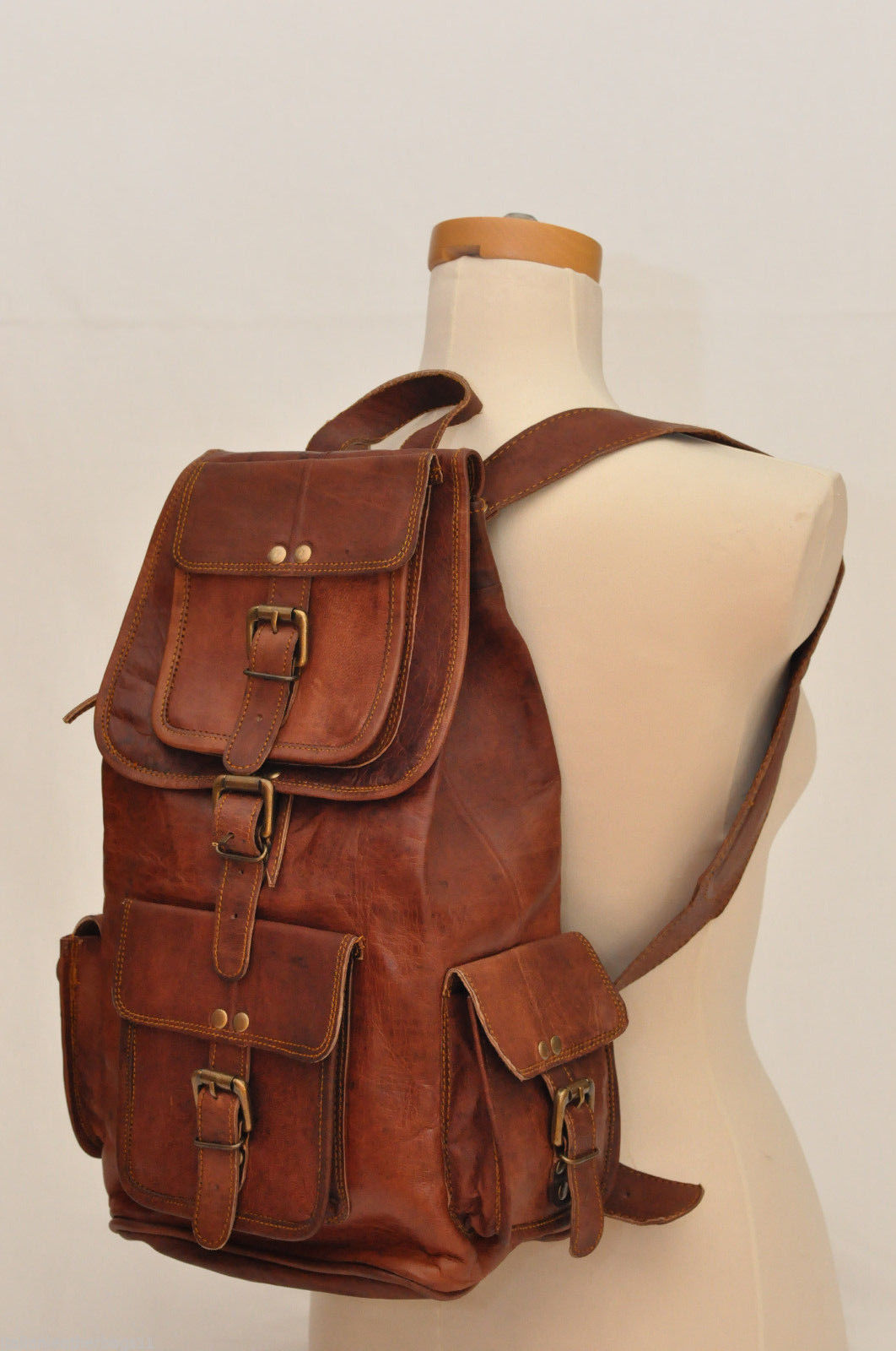 Men's Leather Backpack 16'' Genuine Leather Rucksack Backpack School College Bag