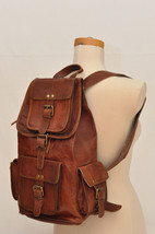 Men's Leather Backpack 16'' Genuine Leather Rucksack Backpack School Col... - $40.00