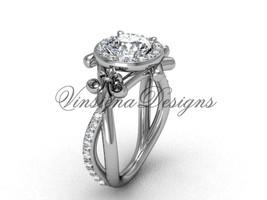 14kt white gold diamond Fleur de Lis, halo, Moissanite engagement ring VD20889  - $1,625.00
