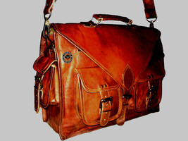 "Men's New !5"" Leather Vintage Messenger Bag Satchel Shoulder Leather Bro... - $65.34"