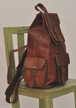 Men's Leather Backpack 16'' Genuine Leather Rucksack Backpack School College Bag image 2