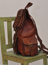 Men's Leather Backpack 16'' Genuine Leather Rucksack Backpack School College Bag image 3
