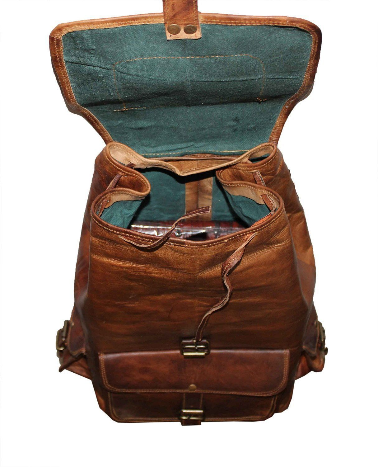 Men's Leather Backpack 16'' Genuine Leather Rucksack Backpack School College Bag image 6