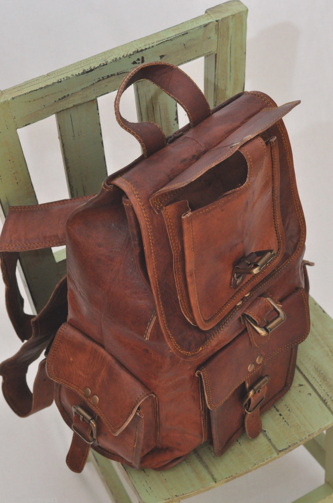 Men's Leather Backpack 16'' Genuine Leather Rucksack Backpack School College Bag image 4