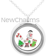 Christmas Floating Locket Gift Set - Includes Necklace & 5 Great Holiday... - £7.52 GBP