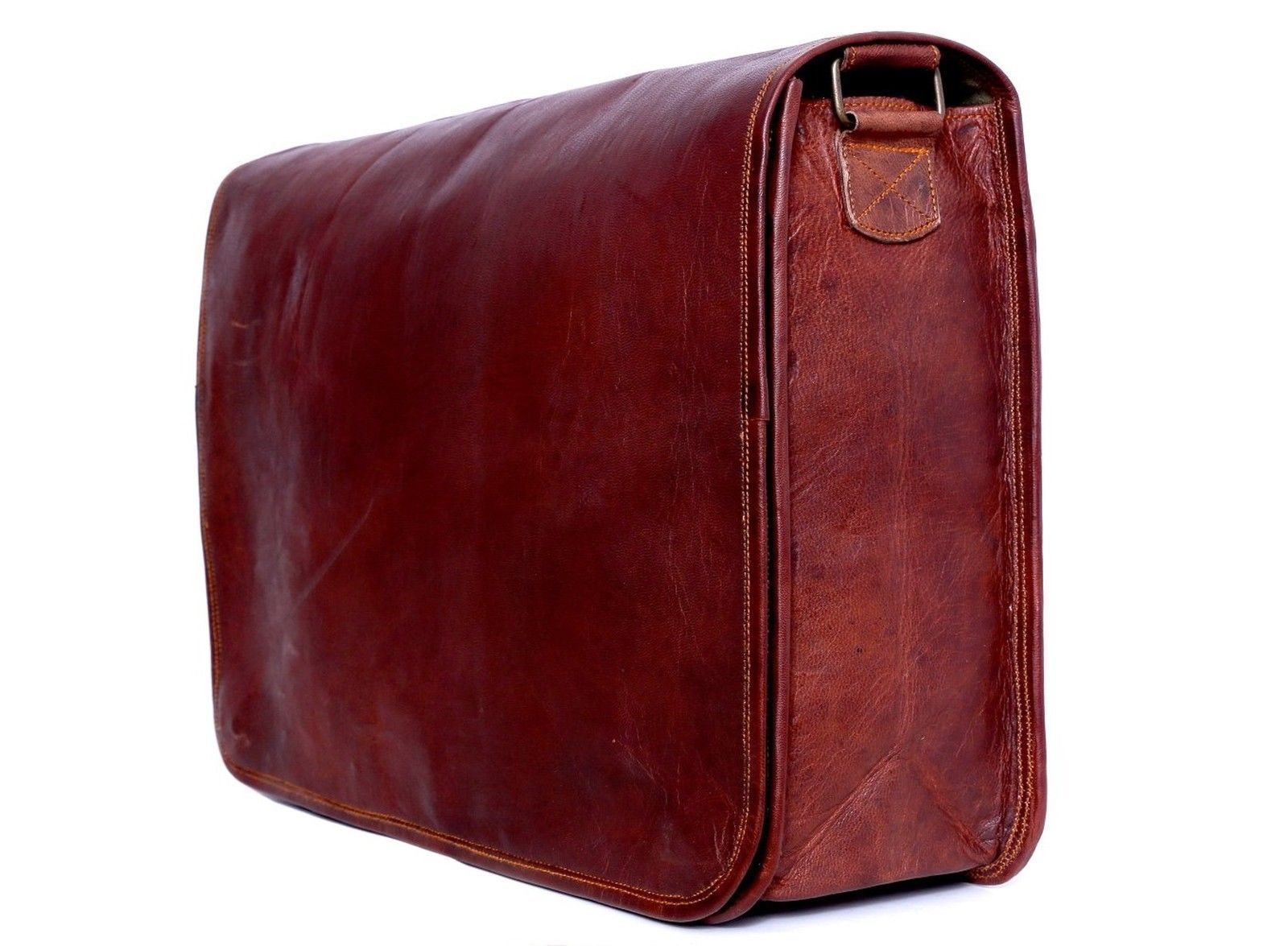 Men's New Genuine Brown Leather MESSENGER Vintage Retro Mens Laptop Computer BAG