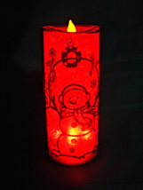 """Snowman Red Sparkle Flickering Flameless Candle 71/2"""" - $15.00"""