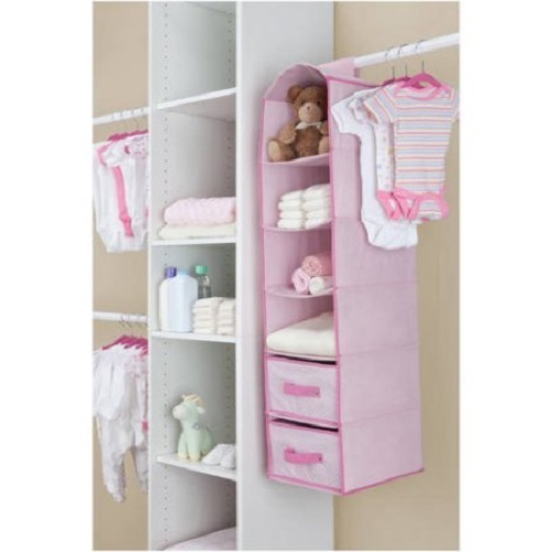 Baby hanging closet storage unit portable clothing organizer 6 shelves 2 drawers pink