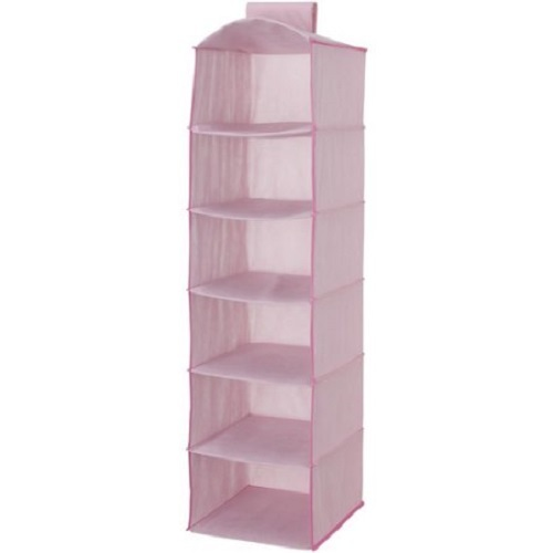 hanging closet storage unit portable clothing organizer 6 shelves 2 drawers pink gift new free