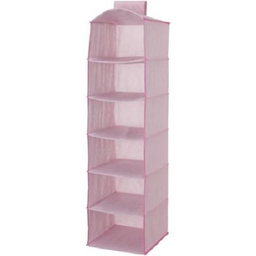 -hanging-closet-storage-unit-portable-clothing-organizer-6-shelves-2-drawers-pink-gift-new-free
