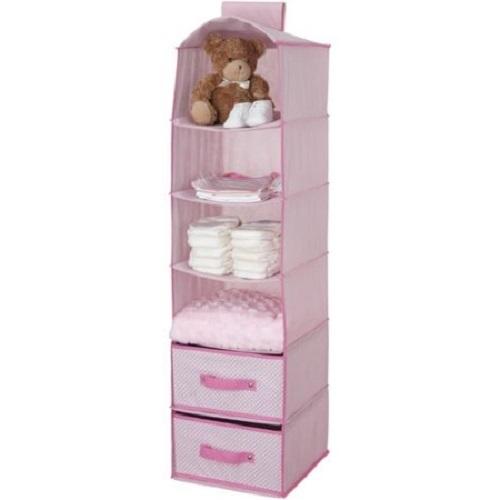 Baby-hanging-closet-storage-unit-portable-clothing-organizer-6-shelves-2-drawers-pink-gift