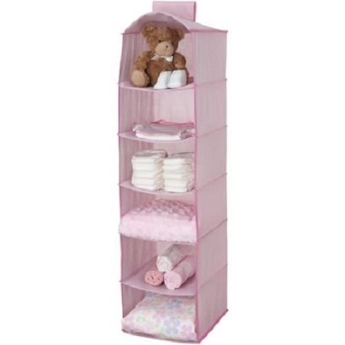 Baby-hanging-closet-storage-unit-portable-clothing-organizer-6-shelves-2-drawers-pink-gift-new