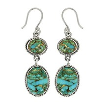 Classic shiny turquoise gemstone 925 sterling silver earring jewelry SHER0006 - $32.61