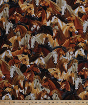 Horses Horse Portraits Equestrian Animals Cotton Fabric Print by Yard D5... - $11.49