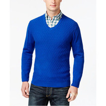 Club Room Diamond-Knit Pattern V-Neck Sweater Blue Medium - £32.14 GBP