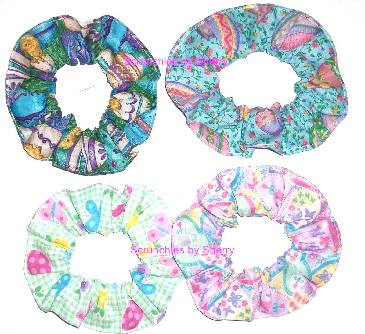 Easter Scrunchie M&M Eggs Chicks Hair Scrunchies by Sherry Ties Ponytail Holder  - $6.99 - $9.99