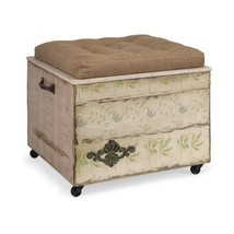 Crate Storage Ottoman  Tufted Linen Seat Fabric Bench Foot Rest Coffee T... - $212.85