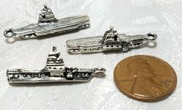 BATTLE SHIP FINE PEWTER PENDANT CHARM - 6x30x10.5mm image 2