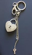 Silver Tone Bling Heart Key Keychain  - $7.43