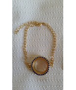 "Sapphire Blue Living Memory Locket Bracelet Gold Plated 9"" L bracelet pl... - $10.00"